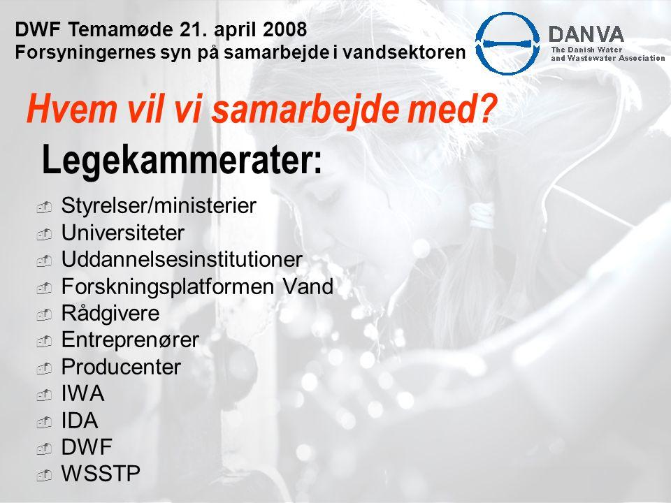 Legekammerater:  Styrelser/ministerier  Universiteter  Uddannelsesinstitutioner  Forskningsplatformen Vand  Rådgivere  Entreprenører  Producenter  IWA  IDA  DWF  WSSTP Hvem vil vi samarbejde med.