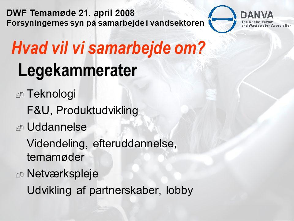 Legekammerater  Teknologi F&U, Produktudvikling  Uddannelse Videndeling, efteruddannelse, temamøder  Netværkspleje Udvikling af partnerskaber, lobby Hvad vil vi samarbejde om.
