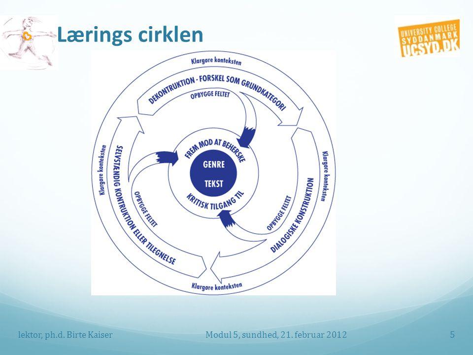 Lærings cirklen Modul 5, sundhed, 21. februar 2012lektor, ph.d. Birte Kaiser5