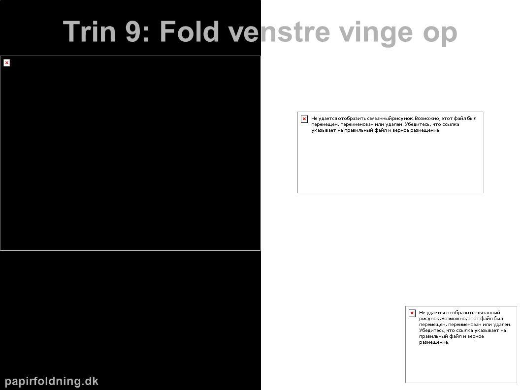papirfoldning.dk Trin 9: Fold venstre vinge op