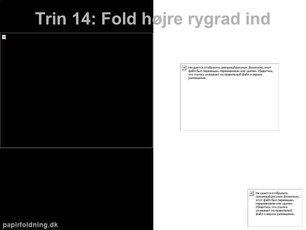papirfoldning.dk Trin 14: Fold højre rygrad ind
