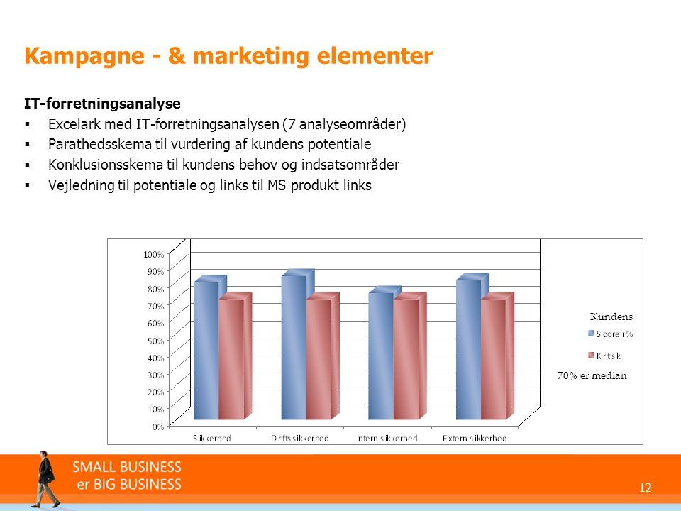 12 Kampagne - & marketing elementer IT-forretningsanalyse  Excelark med IT-forretningsanalysen (7 analyseområder)  Parathedsskema til vurdering af kundens potentiale  Konklusionsskema til kundens behov og indsatsområder  Vejledning til potentiale og links til MS produkt links Kundens 70% er median