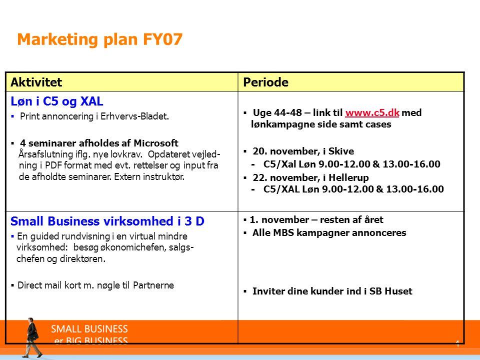 4 Marketing plan FY07 AktivitetPeriode Løn i C5 og XAL  Print annoncering i Erhvervs-Bladet.