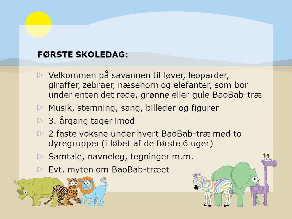 FØRSTE SKOLEDAG: Velkommen på savannen til løver, leoparder, giraffer, zebraer, næsehorn og elefanter, som bor under enten det røde, grønne eller gule BaoBab-træ Musik, stemning, sang, billeder og figurer 3.