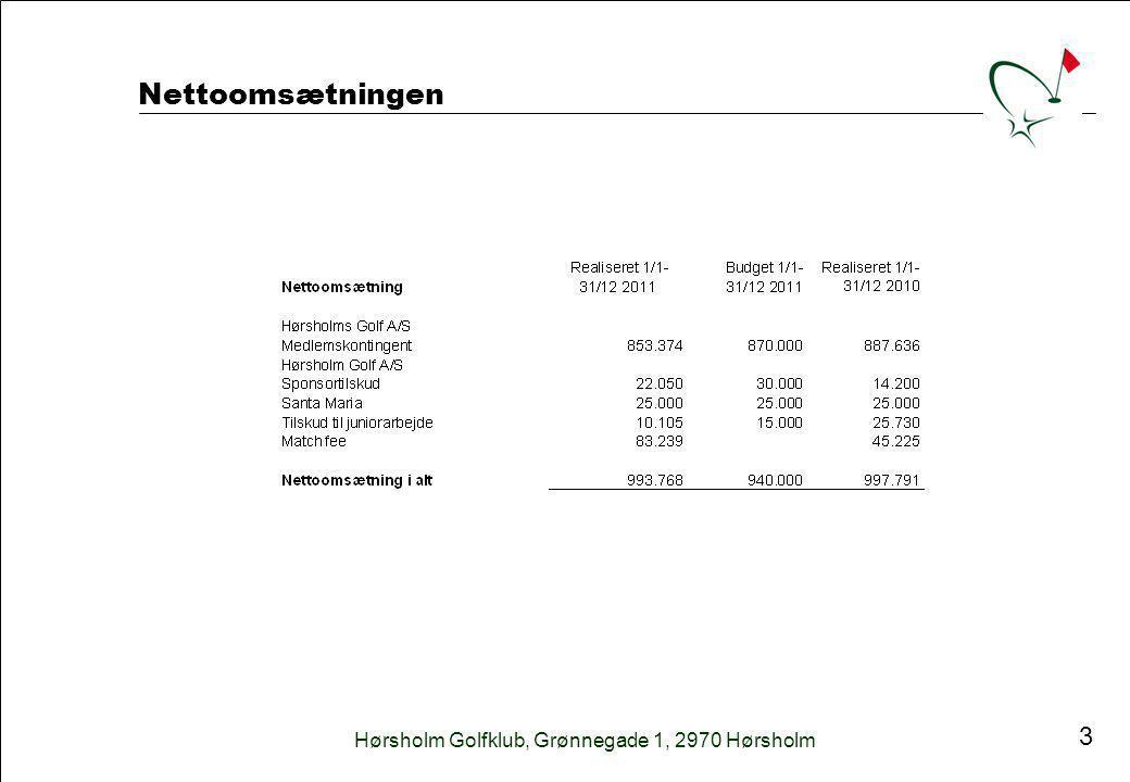 Hørsholm Golfklub, Grønnegade 1, 2970 Hørsholm 3 Nettoomsætningen