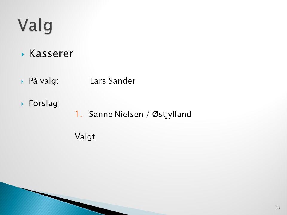  Kasserer  På valg: Lars Sander  Forslag: 1.Sanne Nielsen / Østjylland Valgt 23