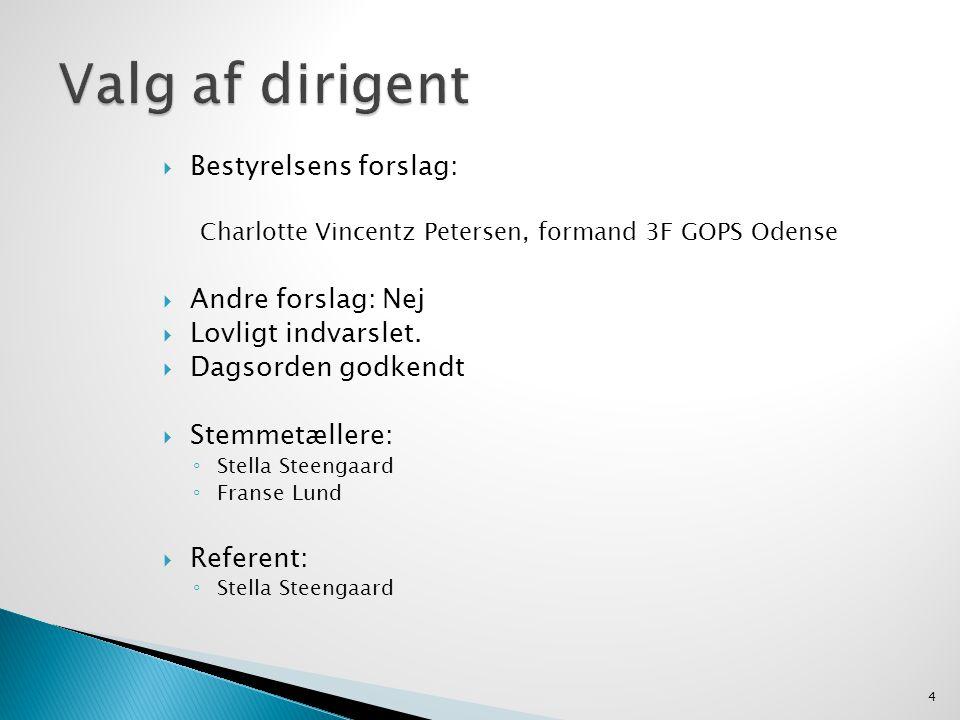  Bestyrelsens forslag: Charlotte Vincentz Petersen, formand 3F GOPS Odense  Andre forslag: Nej  Lovligt indvarslet.