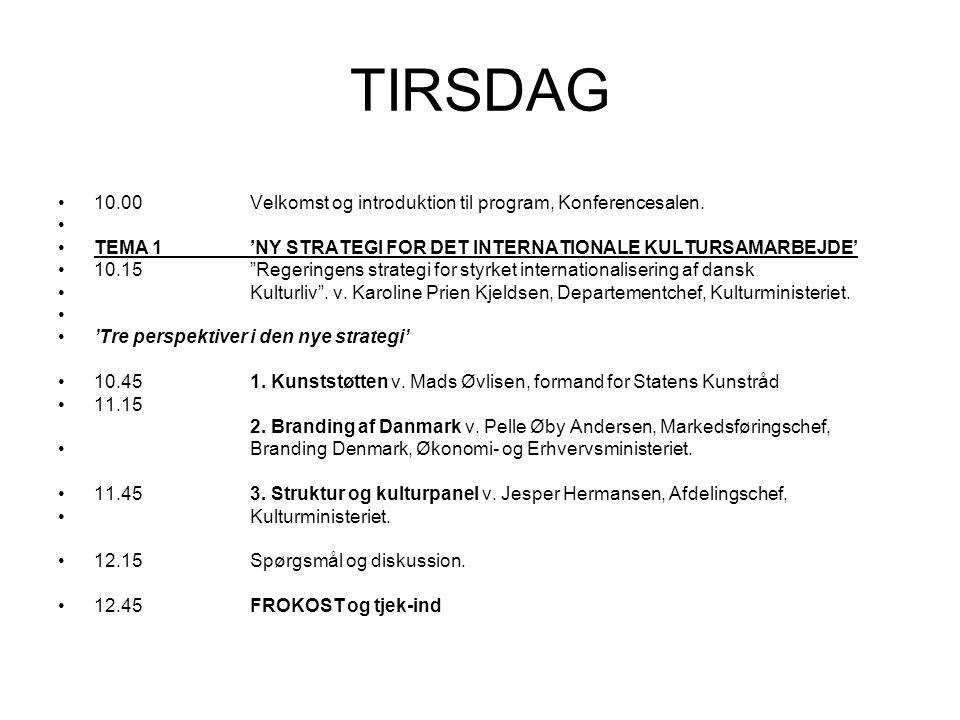 TIRSDAG 10.00Velkomst og introduktion til program, Konferencesalen.