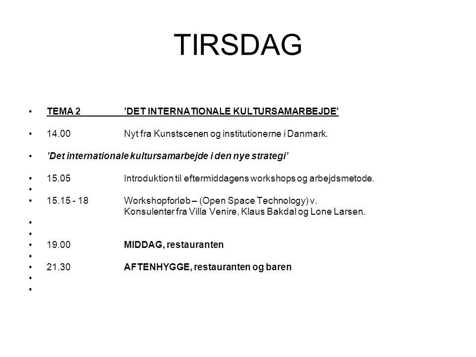 TIRSDAG TEMA 2'DET INTERNATIONALE KULTURSAMARBEJDE' 14.00Nyt fra Kunstscenen og institutionerne i Danmark.
