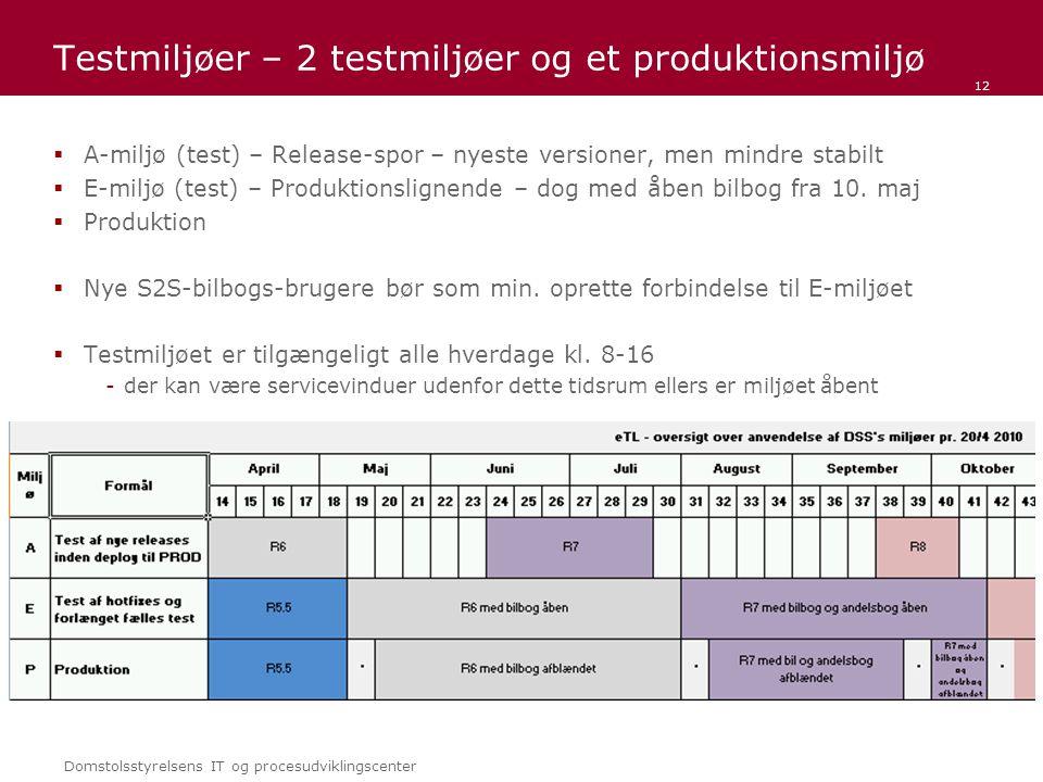 Domstolsstyrelsens IT og procesudviklingscenter Testmiljøer – 2 testmiljøer og et produktionsmiljø  A-miljø (test) – Release-spor – nyeste versioner, men mindre stabilt  E-miljø (test) – Produktionslignende – dog med åben bilbog fra 10.