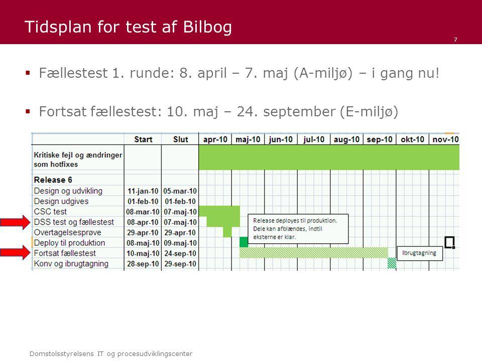 Domstolsstyrelsens IT og procesudviklingscenter Tidsplan for test af Bilbog  Fællestest 1.