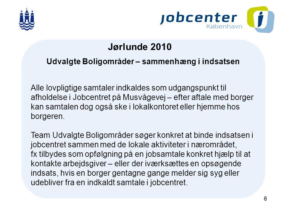 6 J Jørlunde 2010 Udvalgte Boligområder – sammenhæng i indsatsen Alle lovpligtige samtaler indkaldes som udgangspunkt til afholdelse i Jobcentret på Musvågevej – efter aftale med borger kan samtalen dog også ske i lokalkontoret eller hjemme hos borgeren.