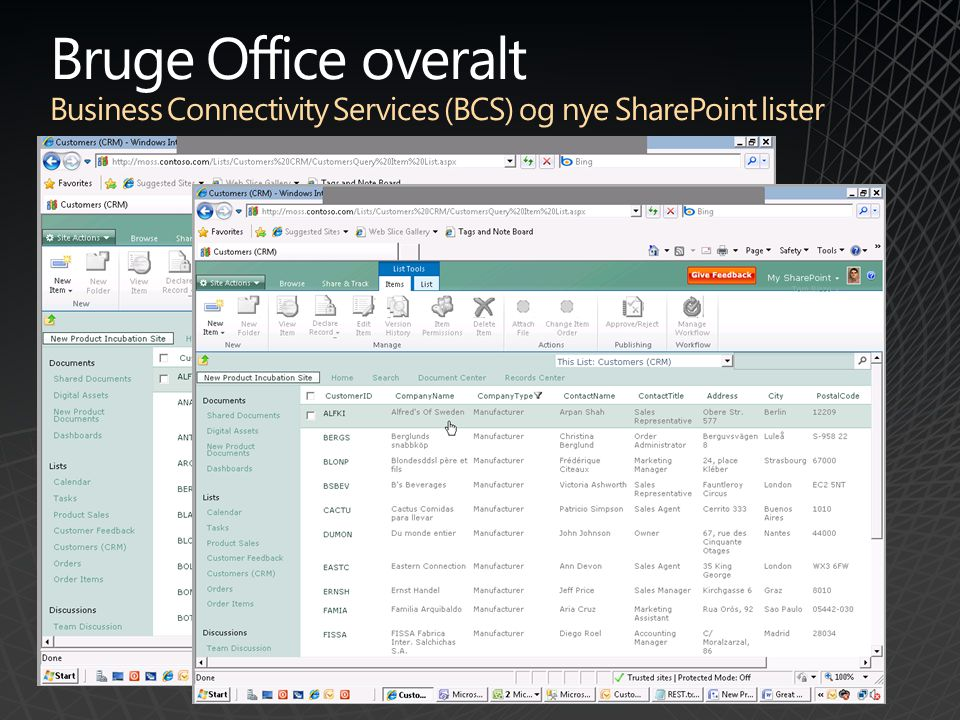 Bruge Office overalt Business Connectivity Services (BCS) og nye SharePoint lister