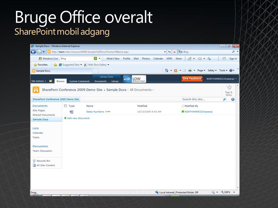 Bruge Office overalt SharePoint mobil adgang