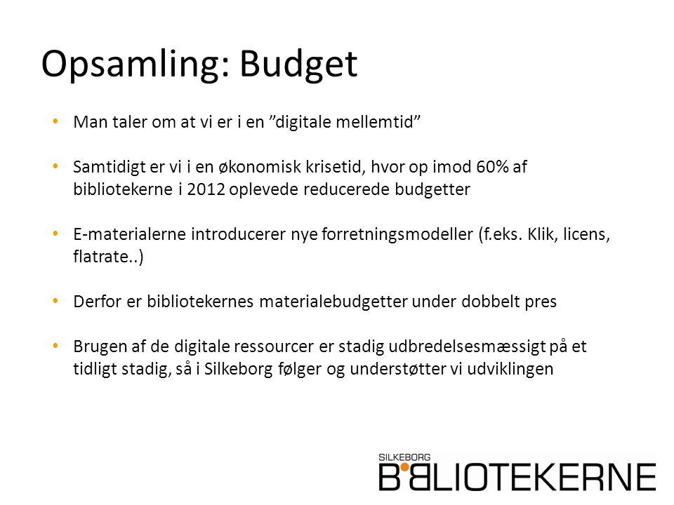 Opsamling: Budget Man taler om at vi er i en digitale mellemtid Samtidigt er vi i en økonomisk krisetid, hvor op imod 60% af bibliotekerne i 2012 oplevede reducerede budgetter E-materialerne introducerer nye forretningsmodeller (f.eks.