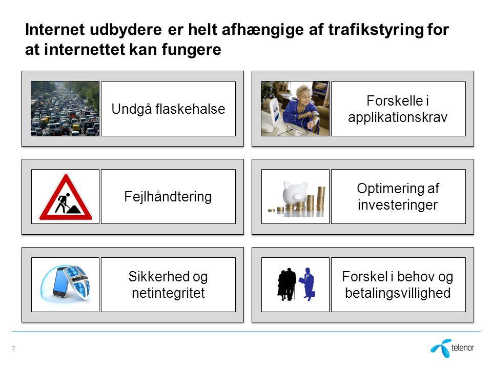 Internet udbydere er helt afhængige af trafikstyring for at internettet kan fungere 7 Undgå flaskehalseFejlhåndtering Sikkerhed og netintegritet Forskelle i applikationskrav Optimering af investeringer Forskel i behov og betalingsvillighed