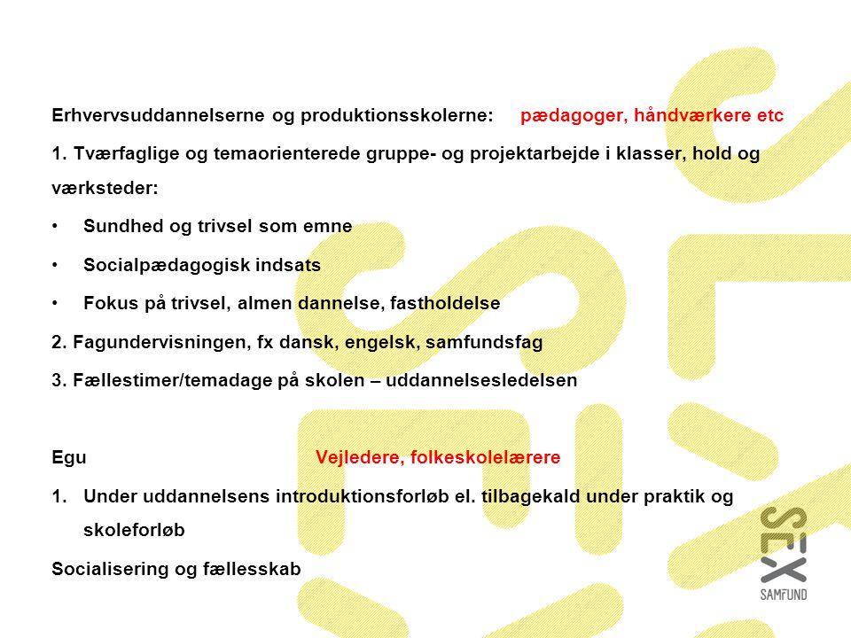 Erhvervsuddannelserne og produktionsskolerne: pædagoger, håndværkere etc 1.