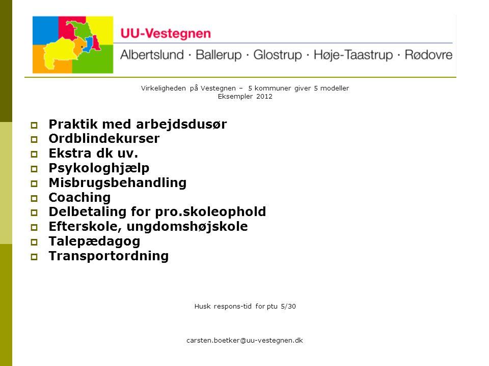 carsten.boetker@uu-vestegnen.dk Virkeligheden på Vestegnen – 5 kommuner giver 5 modeller Eksempler 2012  Praktik med arbejdsdusør  Ordblindekurser  Ekstra dk uv.
