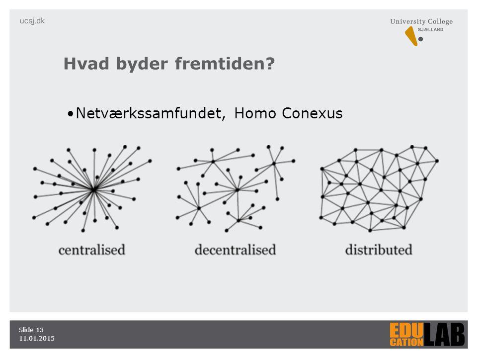 Hvad byder fremtiden Netværkssamfundet, Homo Conexus 11.01.2015 Slide 13