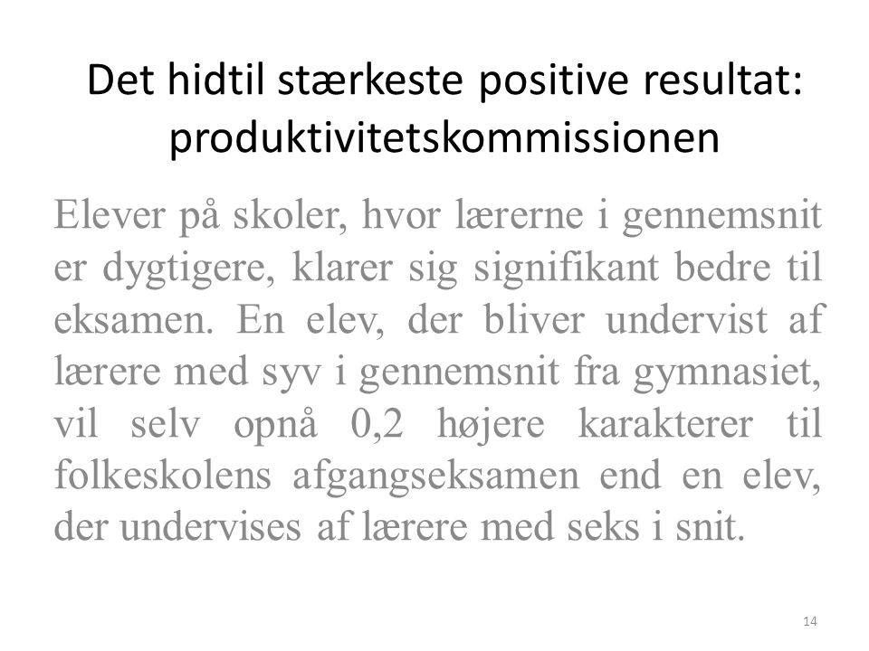 Det hidtil stærkeste positive resultat: produktivitetskommissionen Elever på skoler, hvor lærerne i gennemsnit er dygtigere, klarer sig signifikant bedre til eksamen.