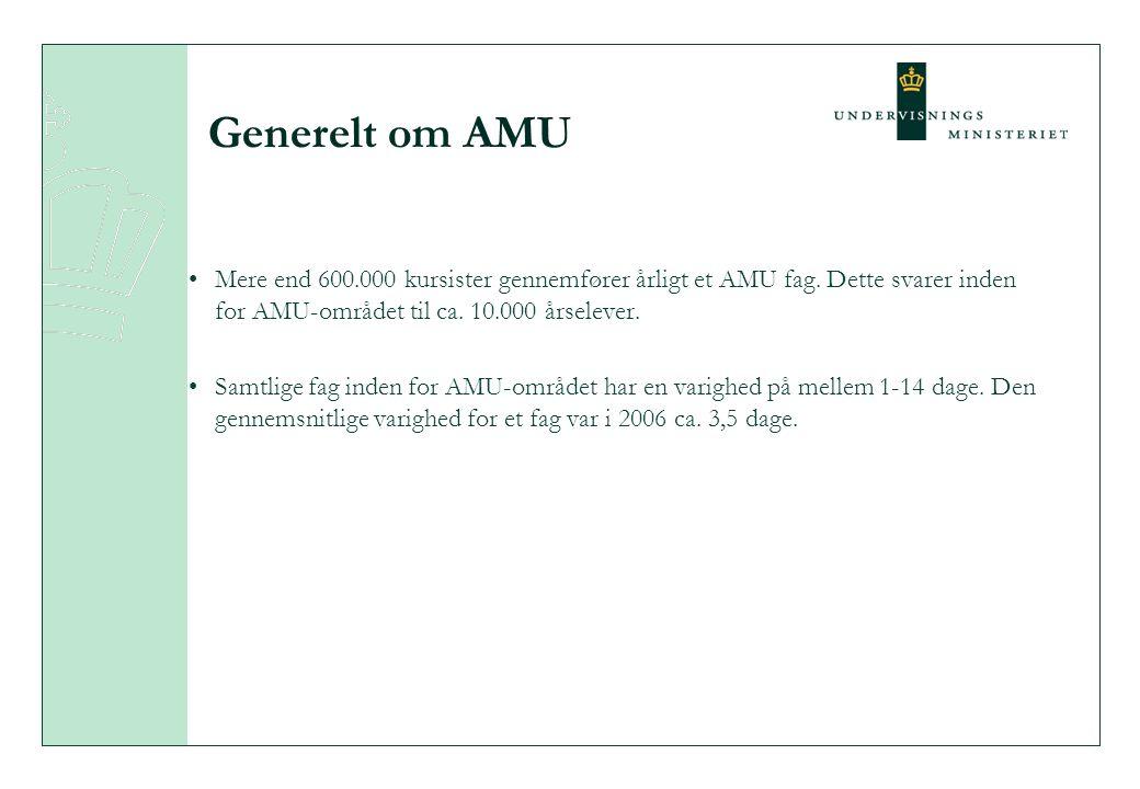 Generelt om AMU Mere end 600.000 kursister gennemfører årligt et AMU fag.