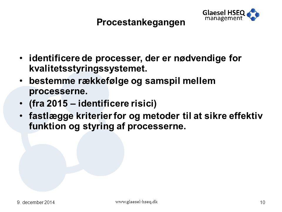 www.glaesel-hseq.dk identificere de processer, der er nødvendige for kvalitetsstyringssystemet.