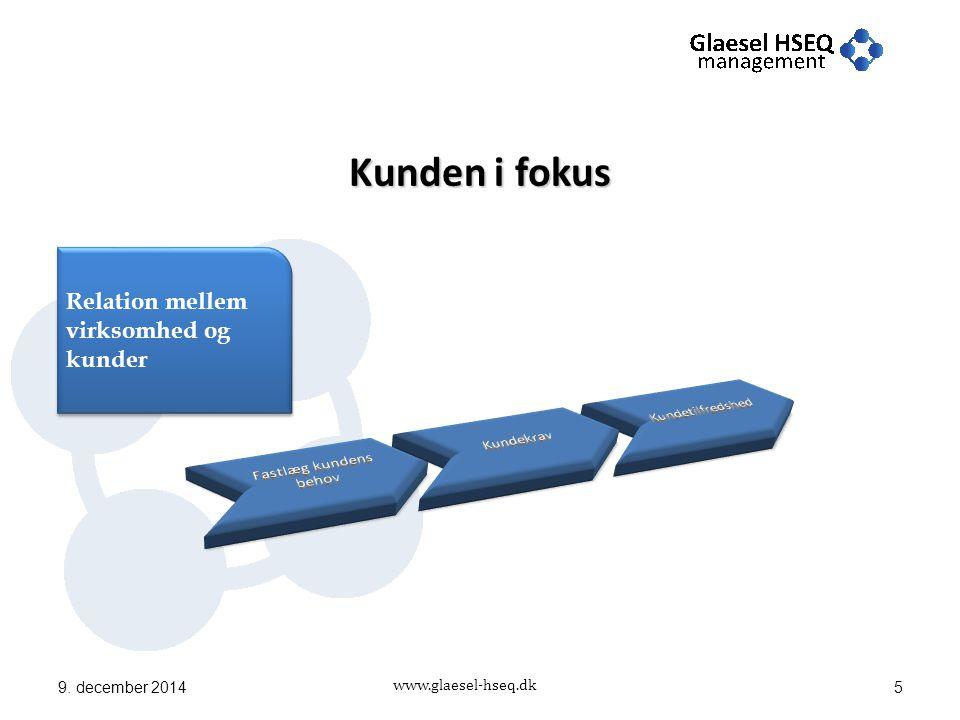 www.glaesel-hseq.dk Kunden i fokus 9. december 20145 Relation mellem virksomhed og kunder