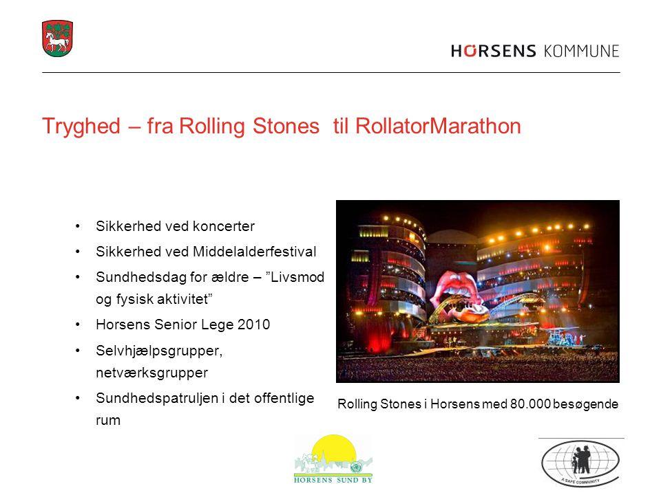 Tryghed – fra Rolling Stones til RollatorMarathon Sikkerhed ved koncerter Sikkerhed ved Middelalderfestival Sundhedsdag for ældre – Livsmod og fysisk aktivitet Horsens Senior Lege 2010 Selvhjælpsgrupper, netværksgrupper Sundhedspatruljen i det offentlige rum Rolling Stones i Horsens med 80.000 besøgende