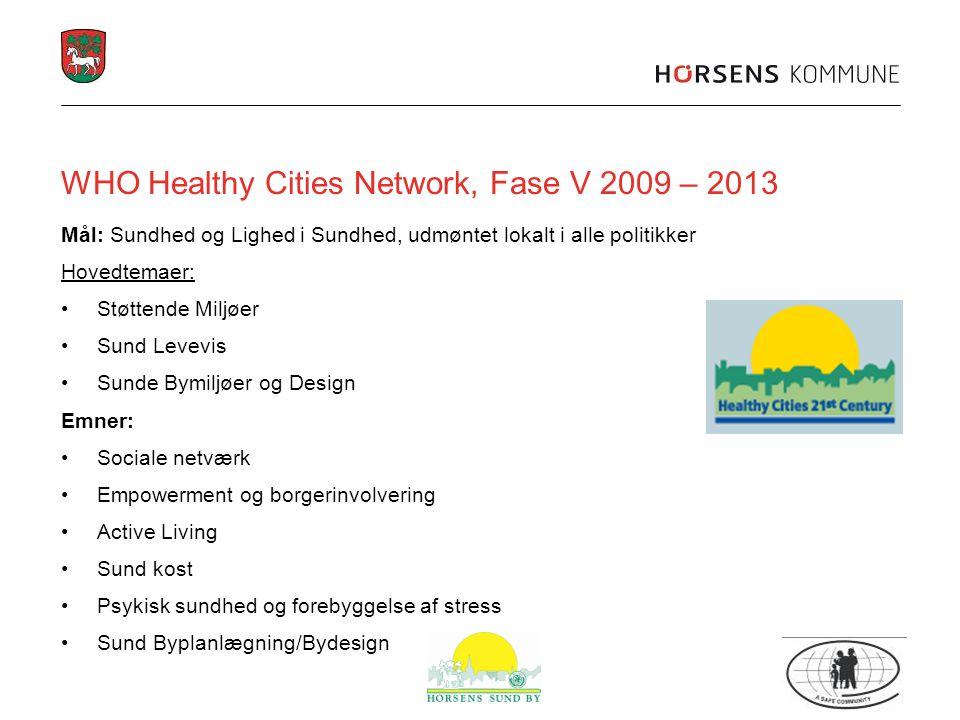 WHO Healthy Cities Network, Fase V 2009 – 2013 Mål: Sundhed og Lighed i Sundhed, udmøntet lokalt i alle politikker Hovedtemaer: Støttende Miljøer Sund Levevis Sunde Bymiljøer og Design Emner: Sociale netværk Empowerment og borgerinvolvering Active Living Sund kost Psykisk sundhed og forebyggelse af stress Sund Byplanlægning/Bydesign