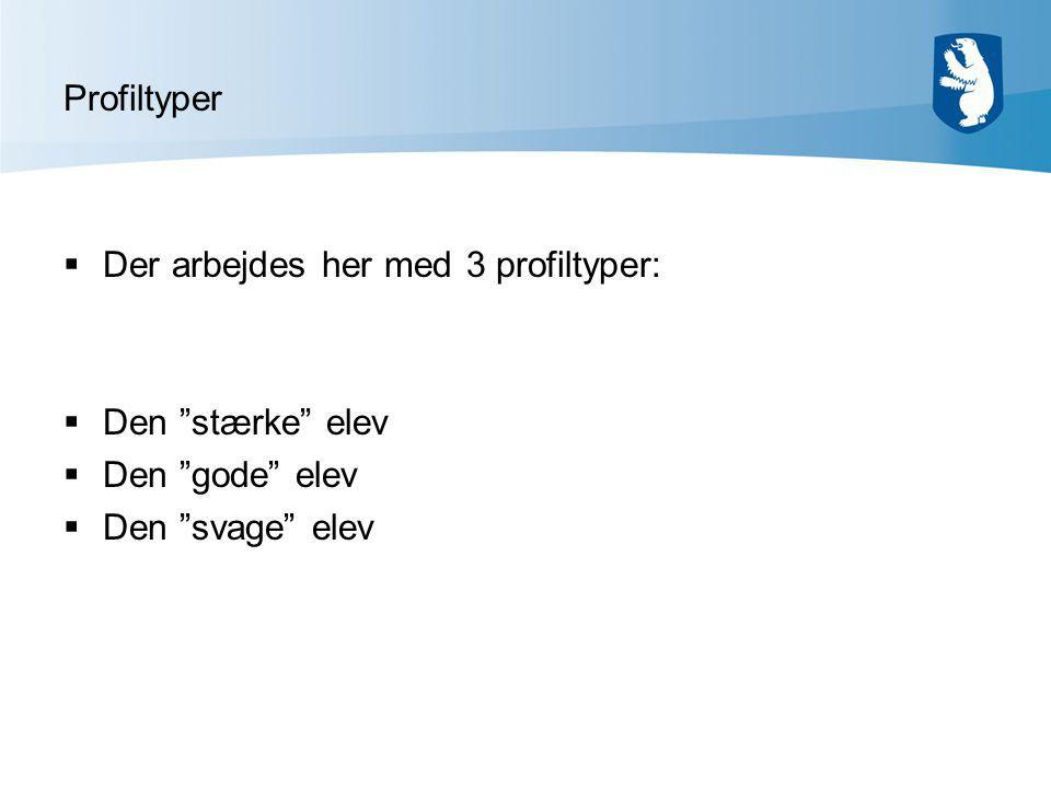 Profiltyper  Der arbejdes her med 3 profiltyper:  Den stærke elev  Den gode elev  Den svage elev