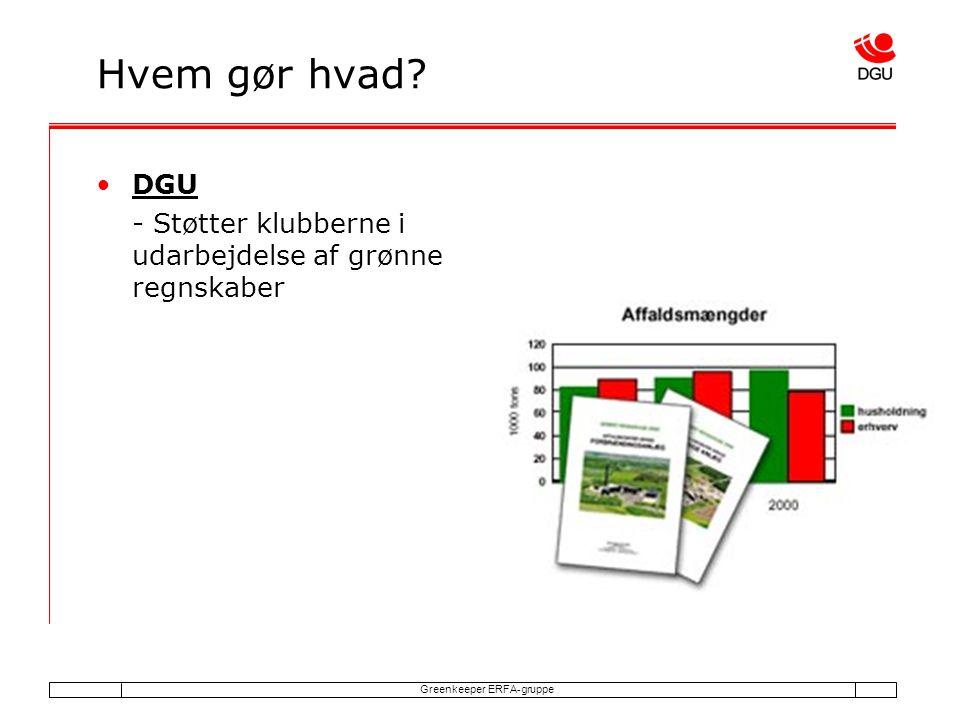 Greenkeeper ERFA-gruppe Hvem gør hvad DGU - Støtter klubberne i udarbejdelse af grønne regnskaber