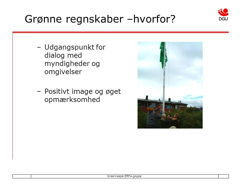 Greenkeeper ERFA-gruppe Grønne regnskaber –hvorfor.