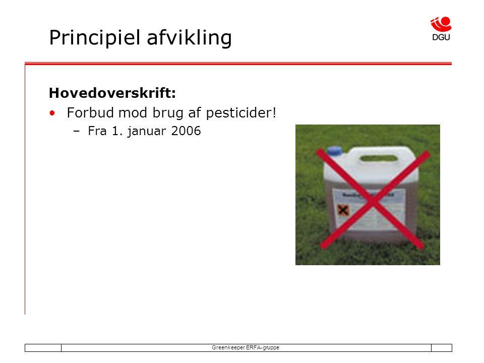 Greenkeeper ERFA-gruppe Principiel afvikling Hovedoverskrift: Forbud mod brug af pesticider.
