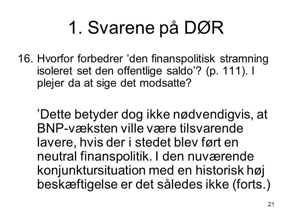 21 1. Svarene på DØR 16.