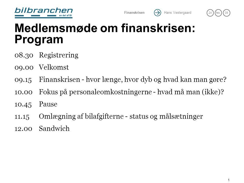 Hans Vestergaard 24feb.09 Finanskrisen 1 Medlemsmøde om finanskrisen: Program 08.30Registrering 09.00Velkomst 09.15Finanskrisen - hvor længe, hvor dyb og hvad kan man gøre.