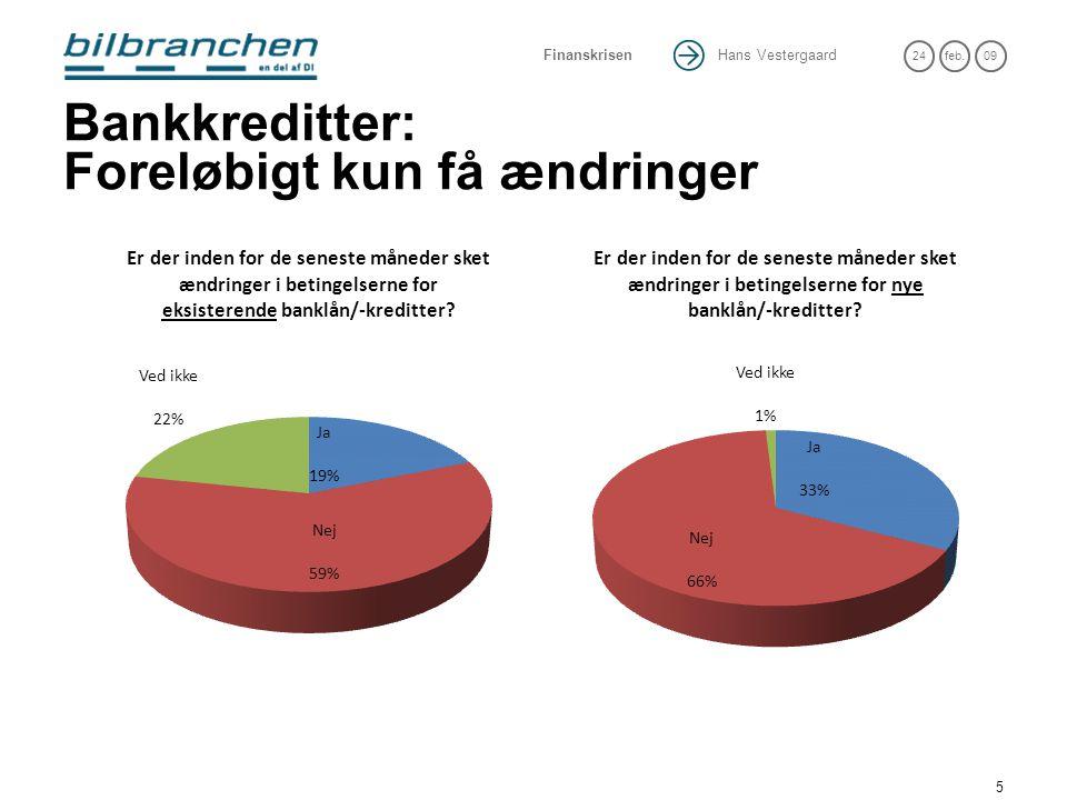 Hans Vestergaard 24feb.09 Finanskrisen 5 Bankkreditter: Foreløbigt kun få ændringer
