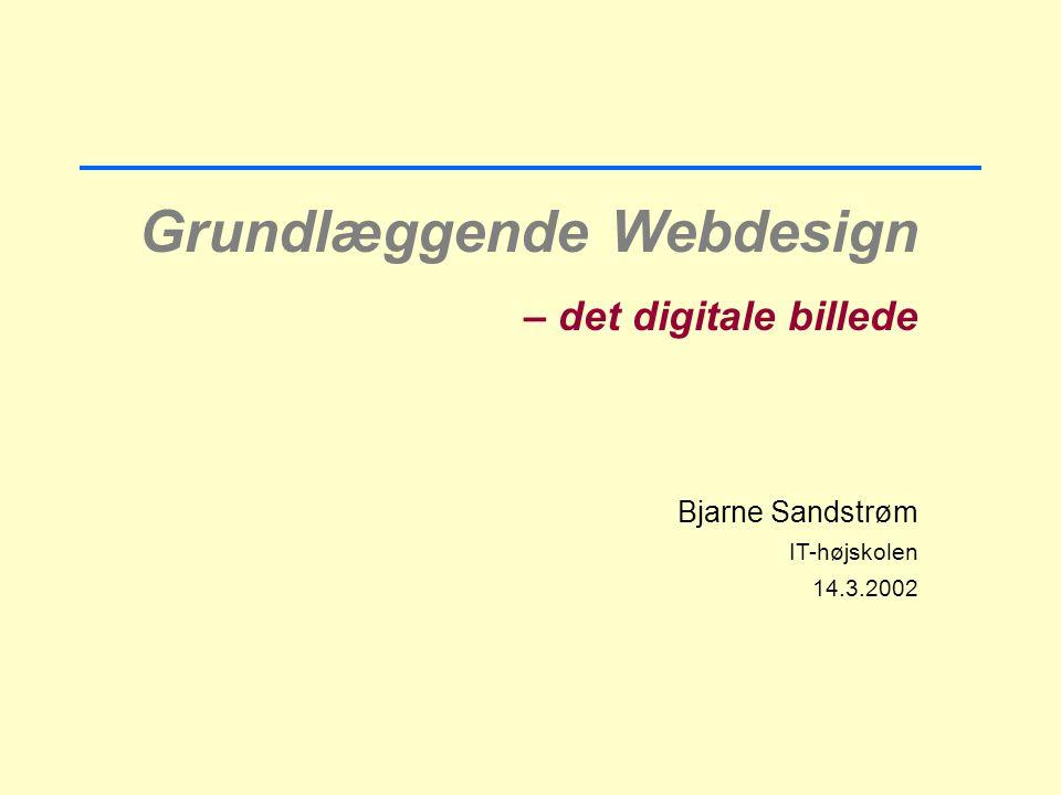 Grundlæggende Webdesign – det digitale billede Bjarne Sandstrøm IT-højskolen 14.3.2002