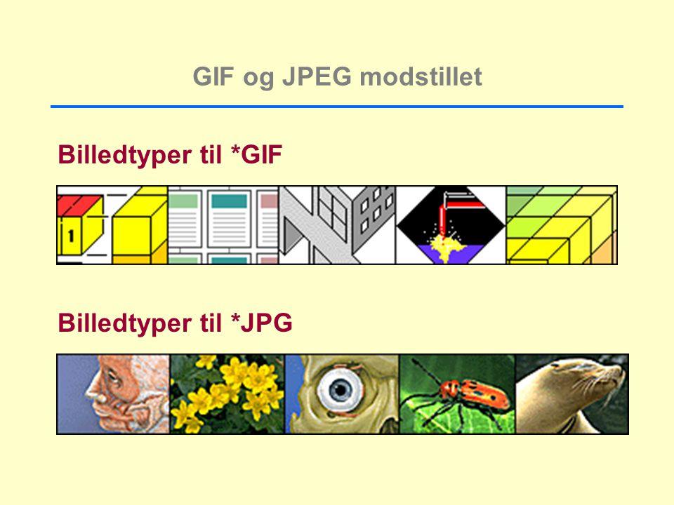 GIF og JPEG modstillet Billedtyper til *GIF Billedtyper til *JPG