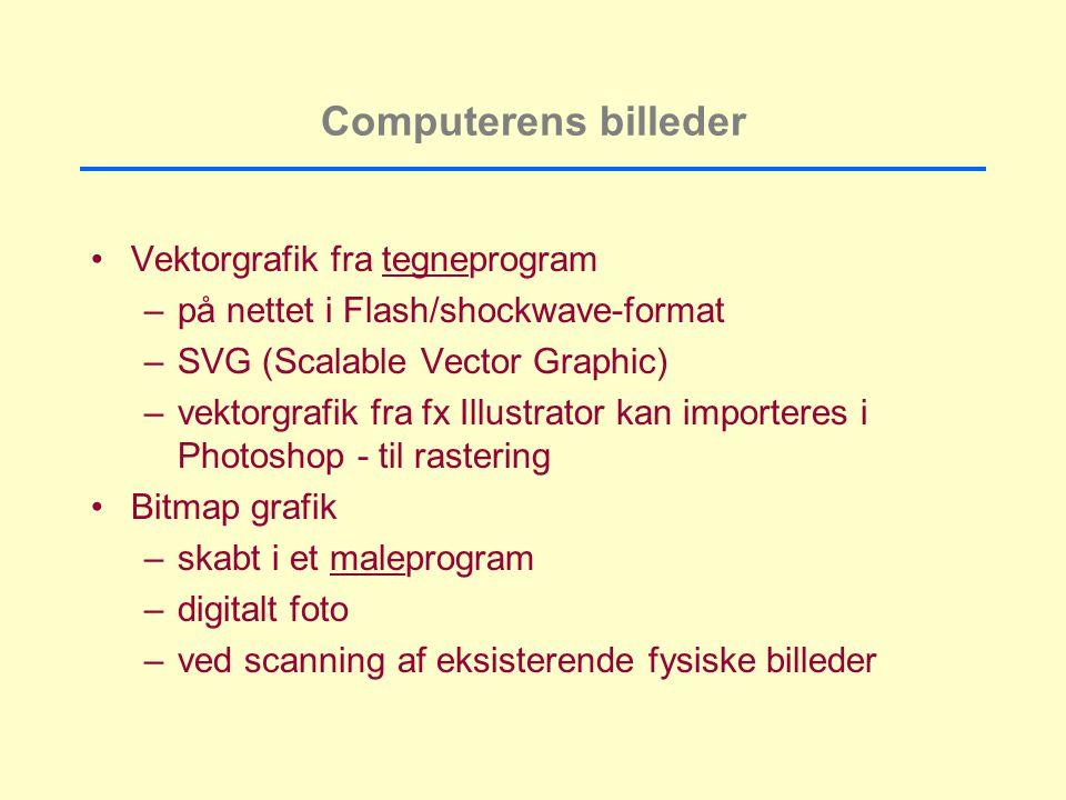 Computerens billeder Vektorgrafik fra tegneprogram –på nettet i Flash/shockwave-format –SVG (Scalable Vector Graphic) –vektorgrafik fra fx Illustrator kan importeres i Photoshop - til rastering Bitmap grafik –skabt i et maleprogram –digitalt foto –ved scanning af eksisterende fysiske billeder