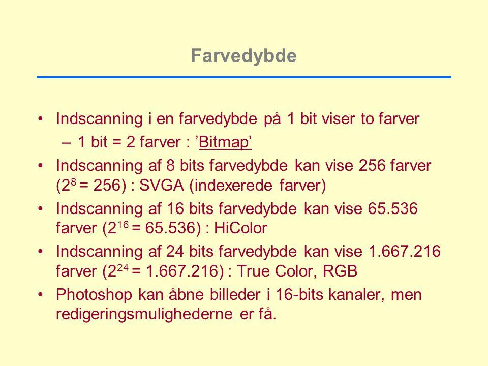 Farvedybde Indscanning i en farvedybde på 1 bit viser to farver –1 bit = 2 farver : 'Bitmap' Indscanning af 8 bits farvedybde kan vise 256 farver (2 8 = 256) : SVGA (indexerede farver) Indscanning af 16 bits farvedybde kan vise 65.536 farver (2 16 = 65.536) : HiColor Indscanning af 24 bits farvedybde kan vise 1.667.216 farver (2 24 = 1.667.216) : True Color, RGB Photoshop kan åbne billeder i 16-bits kanaler, men redigeringsmulighederne er få.