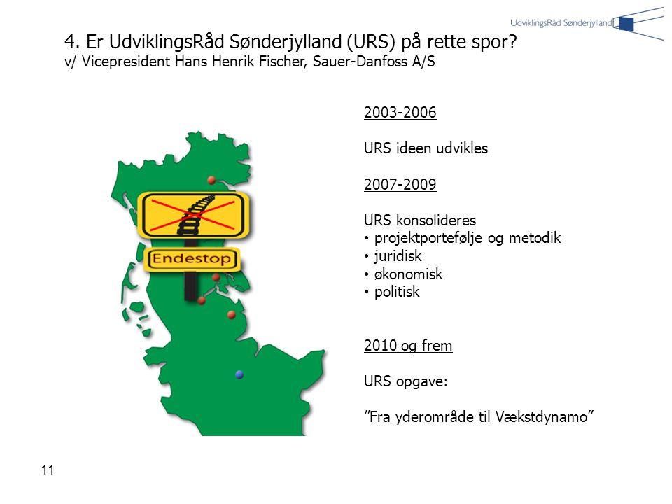 11 2003-2006 URS ideen udvikles 2007-2009 URS konsolideres projektportefølje og metodik juridisk økonomisk politisk 2010 og frem URS opgave: Fra yderområde til Vækstdynamo 4.