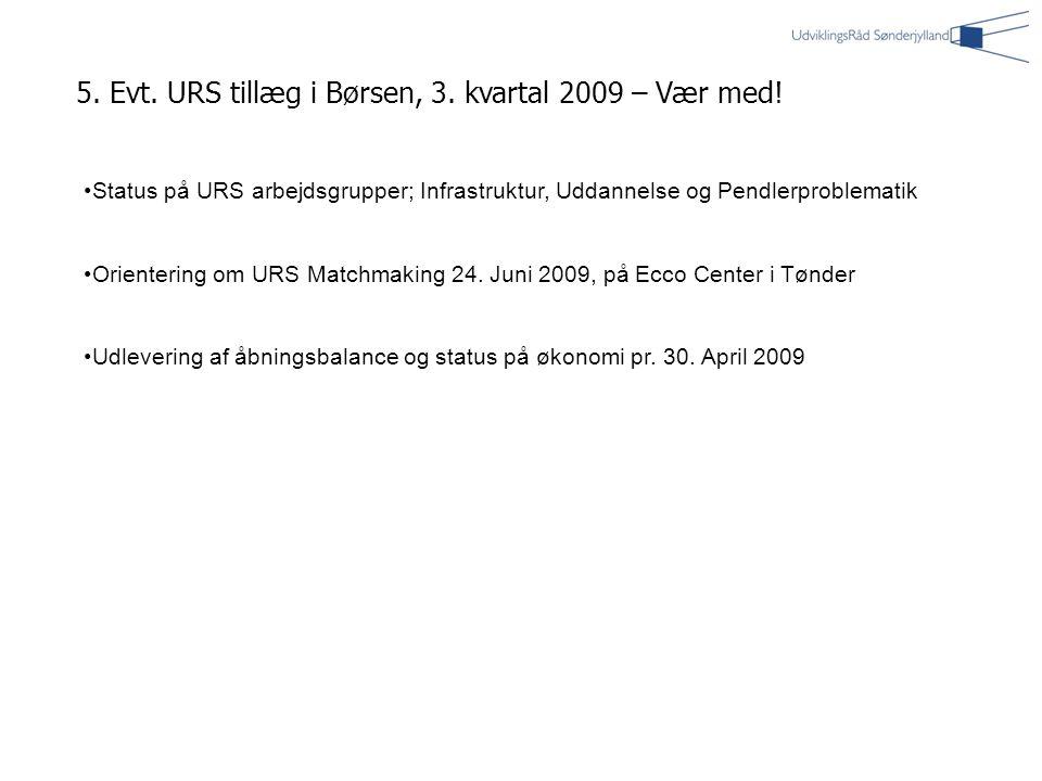 5. Evt. URS tillæg i Børsen, 3. kvartal 2009 – Vær med.
