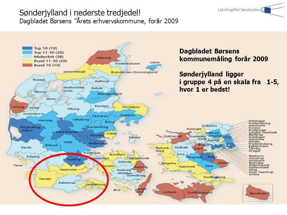 | 4| 4 Dagbladet Børsens kommunemåling forår 2009 Sønderjylland ligger i gruppe 4 på en skala fra 1-5, hvor 1 er bedst.