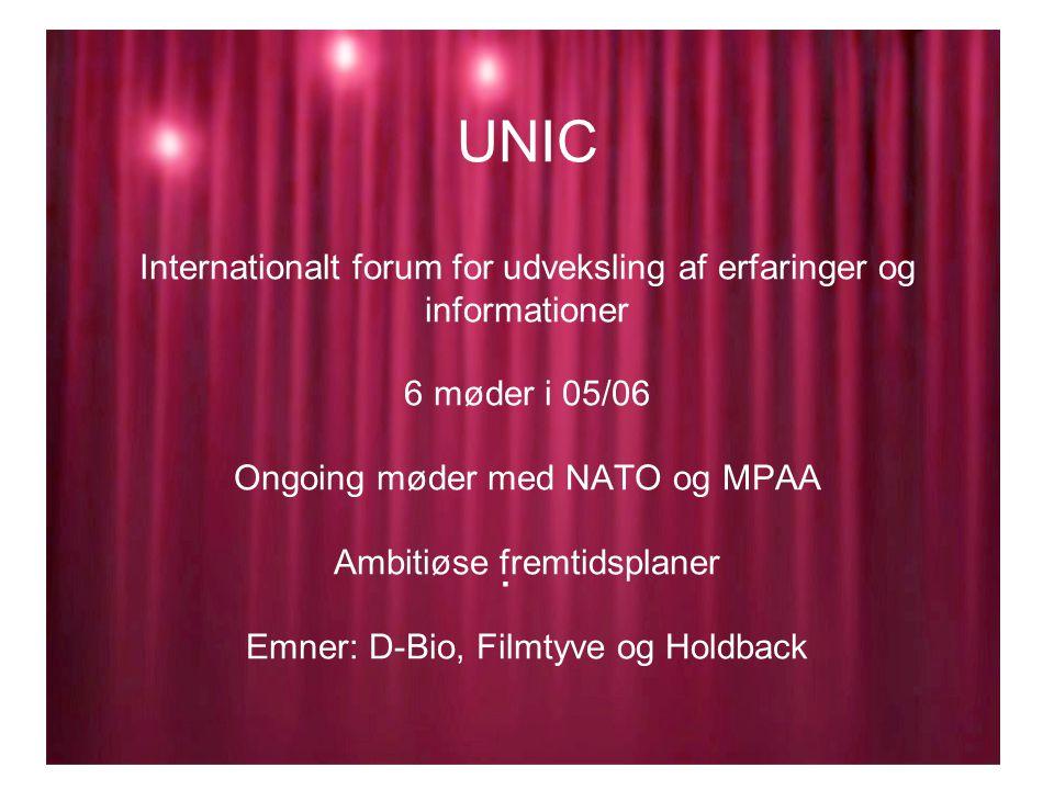 UNIC Internationalt forum for udveksling af erfaringer og informationer 6 møder i 05/06 Ongoing møder med NATO og MPAA Ambitiøse fremtidsplaner Emner: D-Bio, Filmtyve og Holdback.