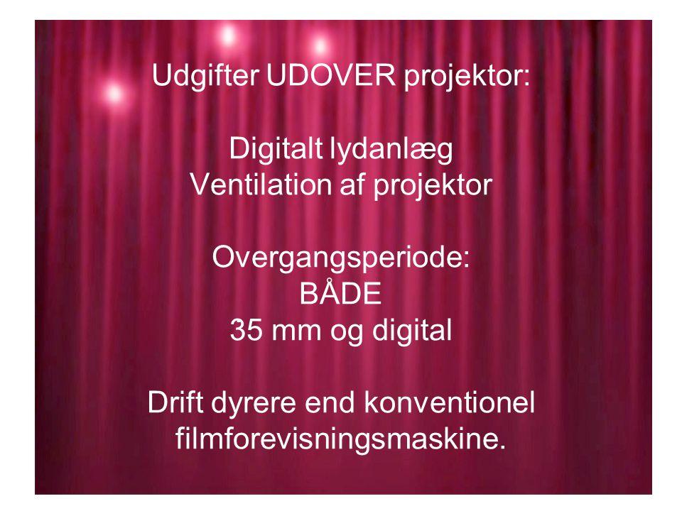 Udgifter UDOVER projektor: Digitalt lydanlæg Ventilation af projektor Overgangsperiode: BÅDE 35 mm og digital Drift dyrere end konventionel filmforevisningsmaskine..