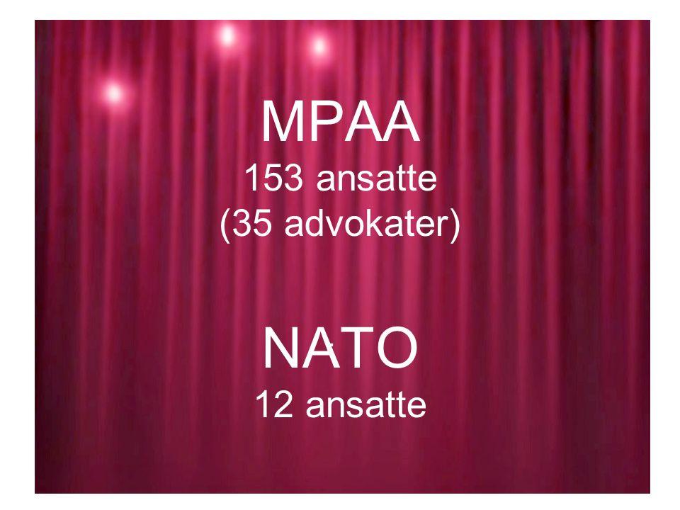 MPAA 153 ansatte (35 advokater) NATO 12 ansatte.