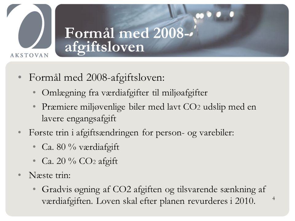 Formål med 2008- afgiftsloven Formål med 2008-afgiftsloven: Omlægning fra værdiafgifter til miljøafgifter Præmiere miljøvenlige biler med lavt CO 2 udslip med en lavere engangsafgift Første trin i afgiftsændringen for person- og varebiler: Ca.