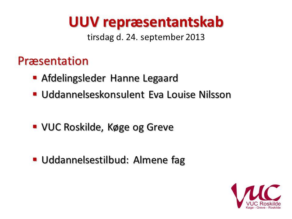 UUV repræsentantskab UUV repræsentantskab tirsdag d.