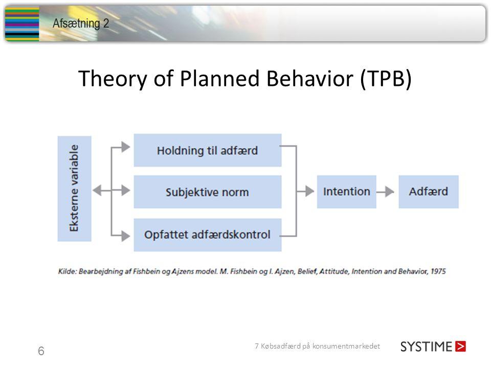 Theory of Planned Behavior (TPB) 7 Købsadfærd på konsumentmarkedet 6