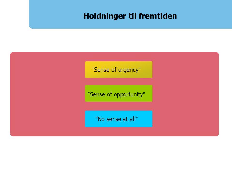 Sense of opportunity Holdninger til fremtiden No sense at all Sense of urgency